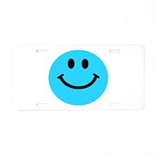 Blue Smiley Face Aluminum License Plate