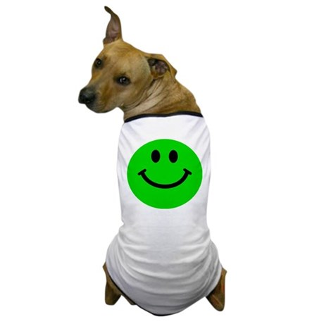 Green Smiley Face Dog T-Shirt