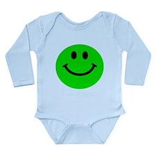 Green Smiley Face Long Sleeve Infant Bodysuit