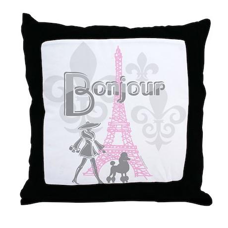 Bonjour Paris 2 Throw Pillow