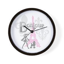 Bonjour Paris 2 Wall Clock