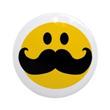 Mustached Smiley Ornament (Round)