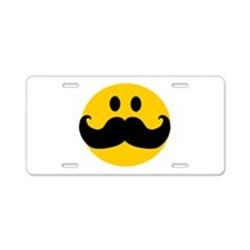 Mustached Smiley Aluminum License Plate