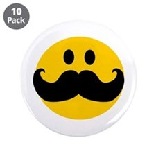 """Mustached Smiley 3.5"""" Button (10 pack)"""
