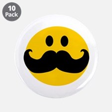 "Mustached Smiley 3.5"" Button (10 pack)"