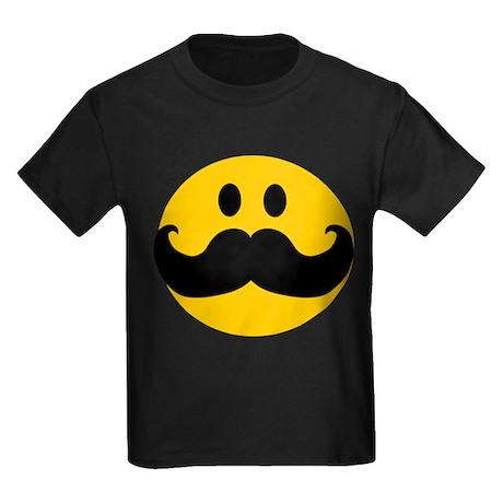 Mustached Smiley Kids Dark T-Shirt