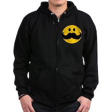 Mustached Smiley Zip Hoodie