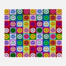 Colorful Smiley Pattern Throw Blanket