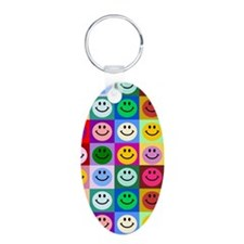 Multicolor Smiley Pattern Keychains
