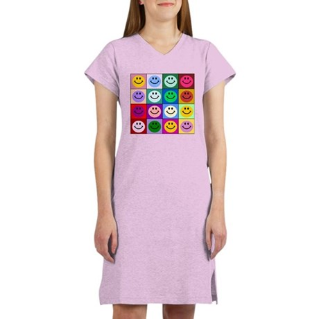 Multicolor Smiley Pattern Women's Nightshirt