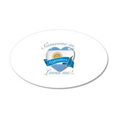 Argentina Flag Design 22x14 Oval Wall Peel