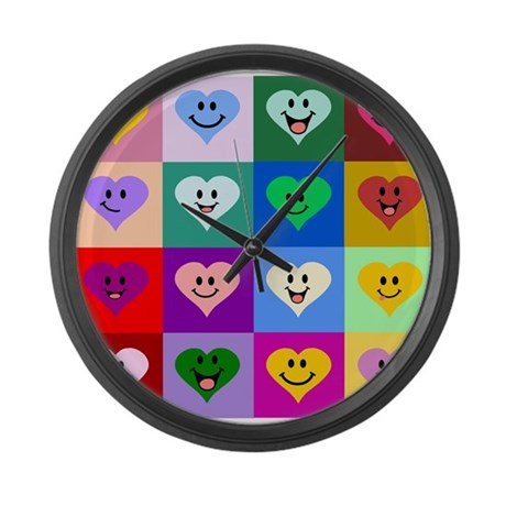 Colorful Smiley Hearts Large Wall Clock