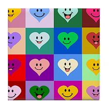 Colorful Smiley Hearts Tile Coaster