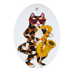 Calico Cat Playing Saxophone Ornament (Oval)