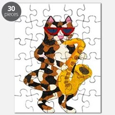 Calico Cat Playing Saxophone Puzzle