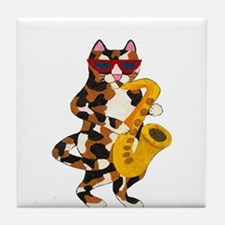 Calico Cat Playing Saxophone Tile Coaster