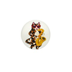 Calico Cat Playing Saxophone Mini Button (10 pack)