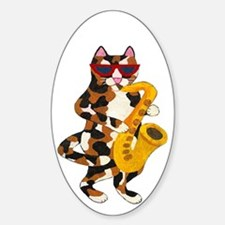 Calico Cat Playing Saxophone Decal