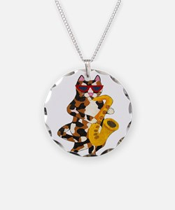 Calico Cat Playing Saxophone Necklace