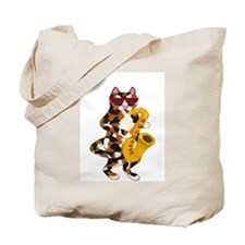 Calico Cat Playing Saxophone Tote Bag