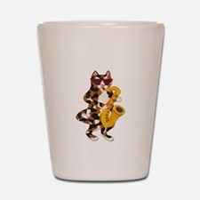 Calico Cat Playing Saxophone Shot Glass