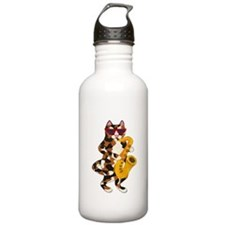 Calico Cat Playing Saxophone Water Bottle