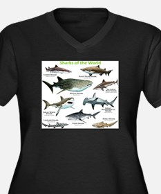 Sharks of the World Women's Plus Size V-Neck Dark