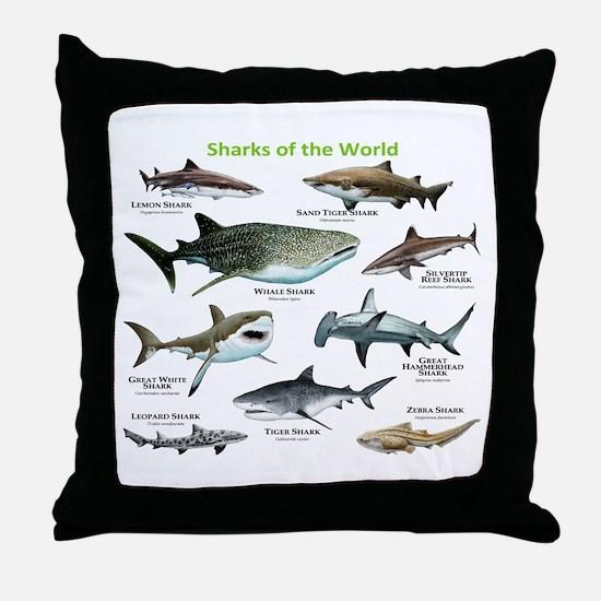 Sharks of the World Throw Pillow