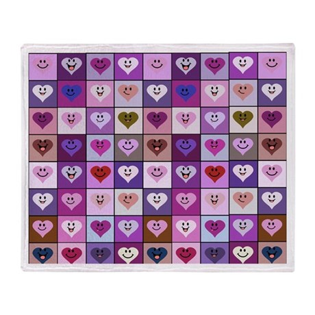 Purple and Pink Smiley Hearts Throw Blanket