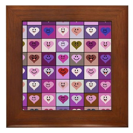 Purple and Pink Smiley Hearts Framed Tile