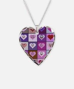 Purple and Pink Smiley Hearts Necklace
