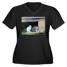 Cute Feral cats Women's Plus Size V-Neck Dark T-Shirt
