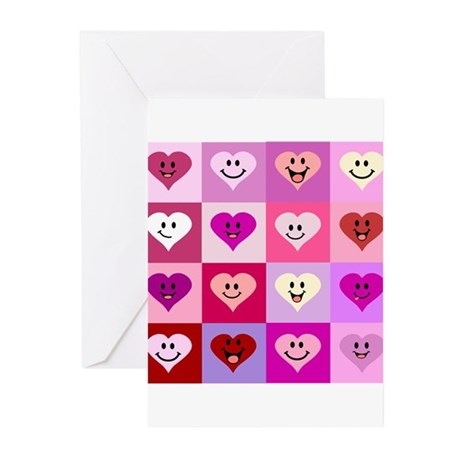 Pink Smiley Hearts Greeting Cards (Pk of 10)