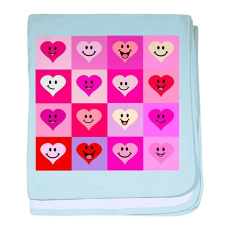 Pink Smiley Hearts baby blanket