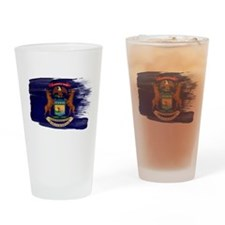 Michigan Flag Drinking Glass