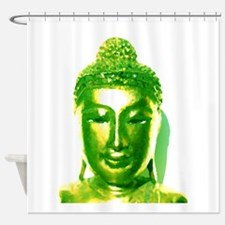 Green Water Color Buddha Shower Curtain