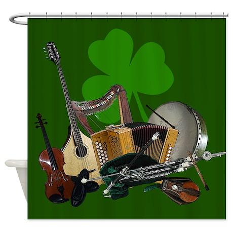 Irish Music Shamrock Shower Curtain