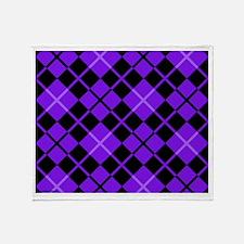 Purple and Black Argyle Throw Blanket