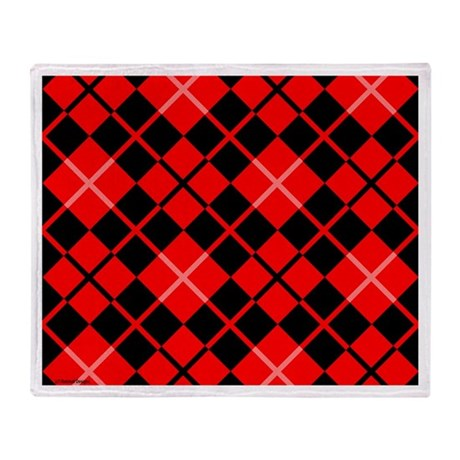 Red and Black Argyle Throw Blanket