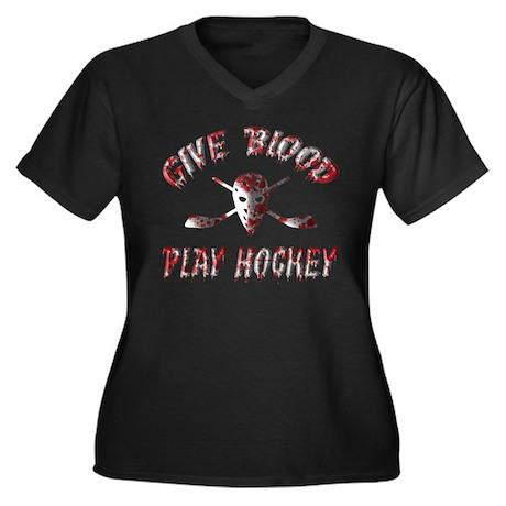 Give Blood Play Hockey Women's Plus Size V-Neck Da