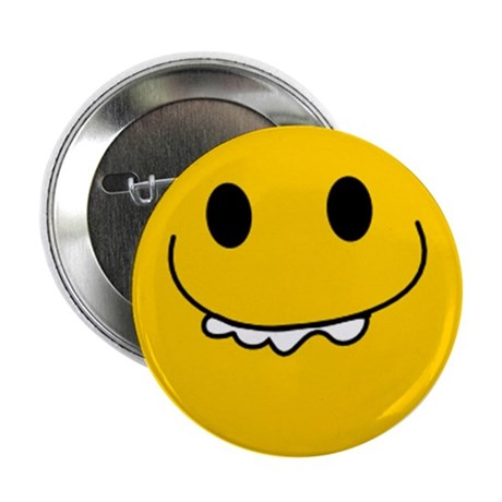 """Goofy Toothy Smiley 2.25"""" Button (100 pack)"""