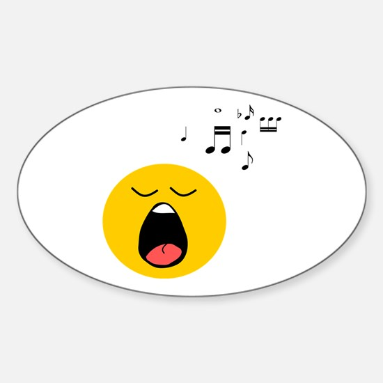 Singing Smiley Sticker (Oval)