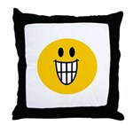 Grinning Smiley Throw Pillow