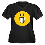 Grinning Smiley Women's Plus Size V-Neck Dark T-Sh