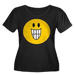 Grinning Smiley Women's Plus Size Scoop Neck Dark