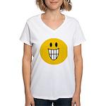 Grinning Smiley Women's V-Neck T-Shirt