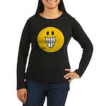 Grinning Smiley Women's Long Sleeve Dark T-Shirt