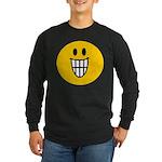 Grinning Smiley Long Sleeve Dark T-Shirt