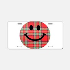 Scottish Tartan Smiley Aluminum License Plate