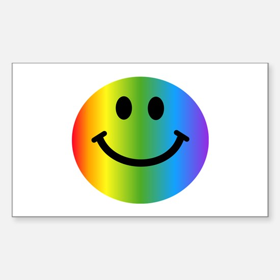 Rainbow Smiley Sticker (Rectangle)